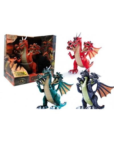 Интерактивное животное WS5311 динозавр, 3 цвета, батар., свет, звук, в коробке 29*21*30см