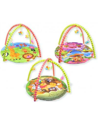 Коврик для малышей 024/025/029 с погремушками на дуге, 3 вида, в сумке 62*66см