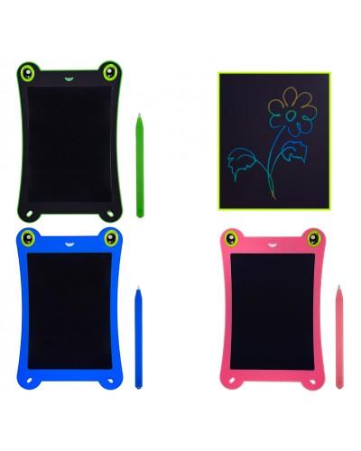 """Планшет LCD2581  3 вида, многоцветный, размер 8,5"""", ручка, кнопка удаления, батар., в кор.16,5*1*2"""