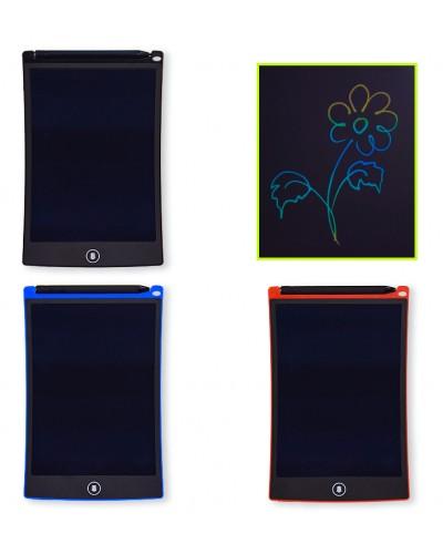 """Планшет LCD2583 3вида, многоцветный, размер 8,5"""", ручка, кнопка удаления, батар., в кор.15*1*22"""