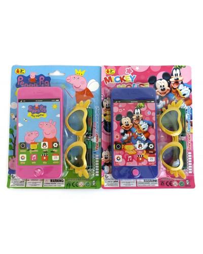 Моб.телефон 089-4A/089-14A 2 вида, в наборе очки, свет, звук, на планшетке 21*16