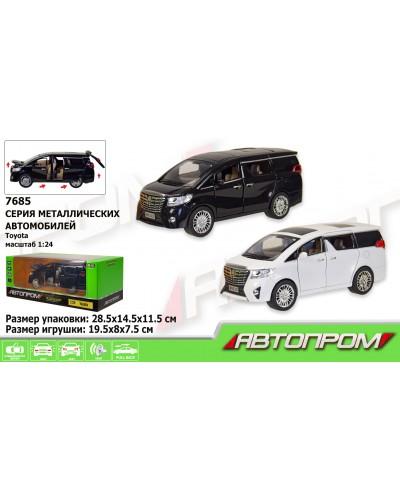 "Машина метал 7685 ""АВТОПРОМ"" 1:24 Toyota, 2 цвета, батар, свет, звук, двери откр., в кор. 29*15*1"