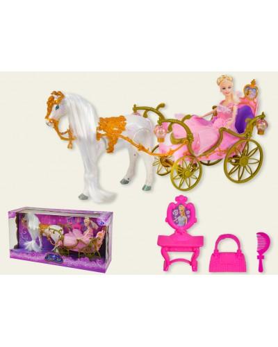 Карета 209A звук, лошадка ходит, с куклой, в коробке 58,3*19*29,7 см