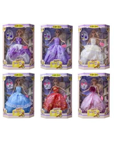 Кукла  ZR-583A  6 видов, в бальном платье, сумочка, детский аксессуар, аксесс, в кор.23*8,5*