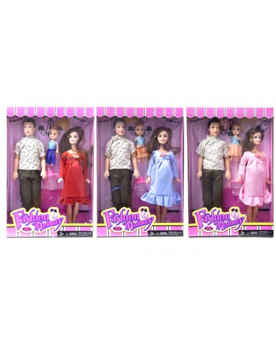 "Кукла ""Семья"" 6106 3 вида, мама беремен, Кен, куколка, аксесс, в кор. 33*22*5см"