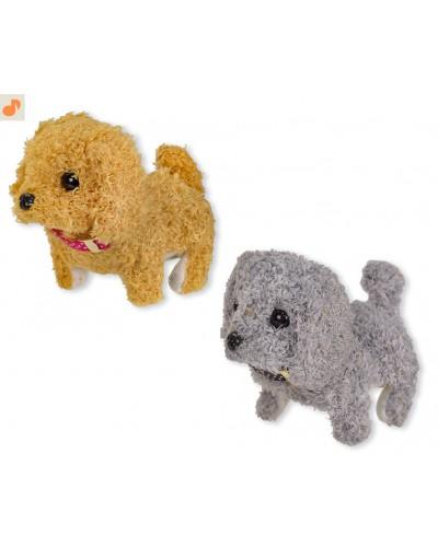 Мягкая игрушка M0664 собачка, 2 цвета, тявкает, ходит, 16 см в пакете