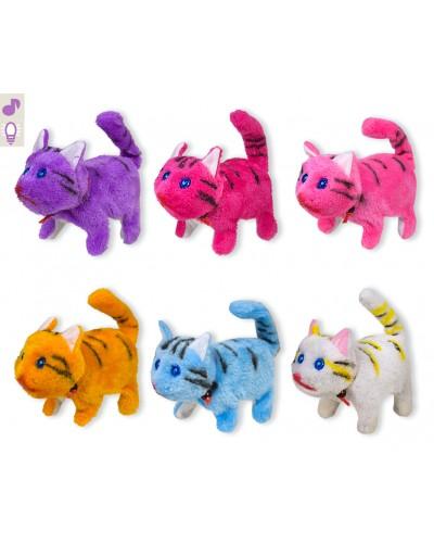 Мягкая игрушка PLM1904 кот, мяукает, ходит, 6 микс цветов, в пакете 18*14см