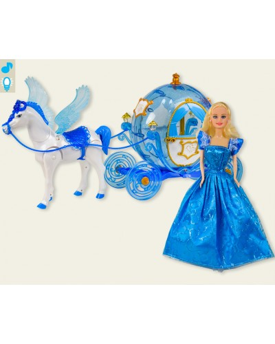 Карета 219A звук, лошадка с крыльями ходит, с куклой, в коробке 60*20*33,4 см