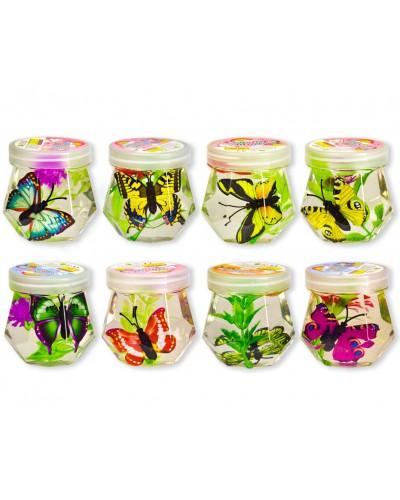 Лизун SL21024 бабочки в прозрачном слайме, 6,5см 12 шт. в дисплей боксе