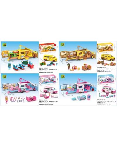 Машина-трейлер 930-1/2/3/4  4 вида микс: Школьный автобус, Скорая помощь, Доставка еды, Морож.