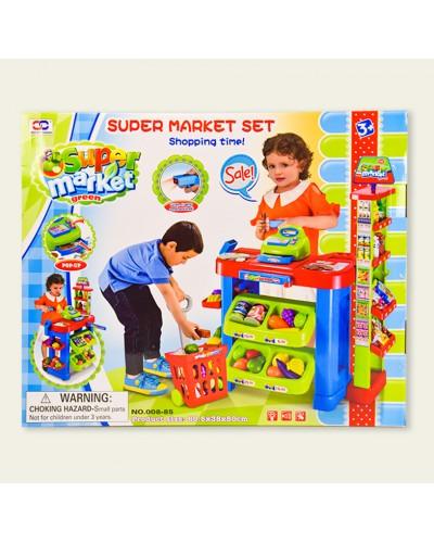 Набор Супермаркет 008-85 прилавок, продукты, кассовый аппарат, тележка, зук, свет
