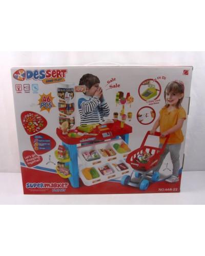 Набор Магазин 668-22 свет, звук, касса, тележка, продукты, в коробке 57*45*17см