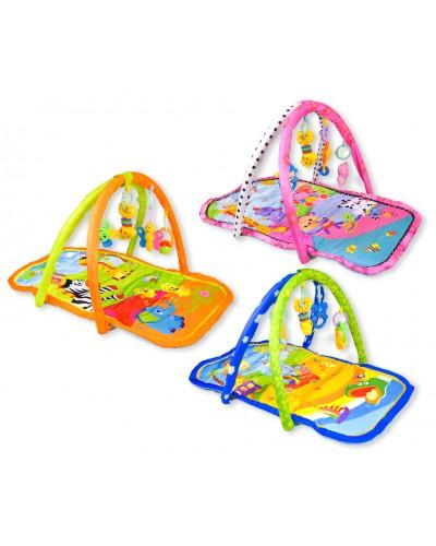 Коврик для малышей 8640-P/8637-P/8638-P с погремушками на дуге, 3 вида, в сумке 49*6*45см