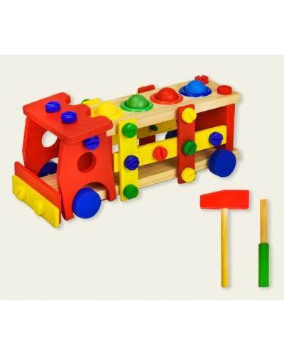 Дерев. игрушка WD2302 машинка, молоток, отвертка, в коробке 30*12*12,5 см