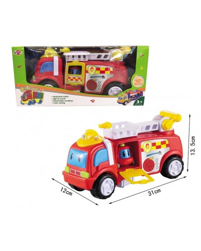Муз.машина 969-K11 пожарная, свет, звук. в коробке 15*35*15см