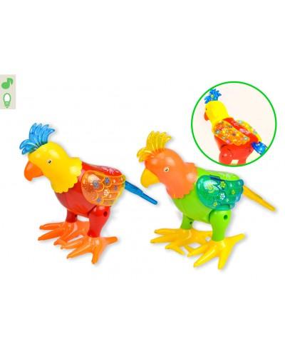 Муз.животное 2068 Попугай, 2 цвета, свет, звук, движение, в кор. 22*17*25см