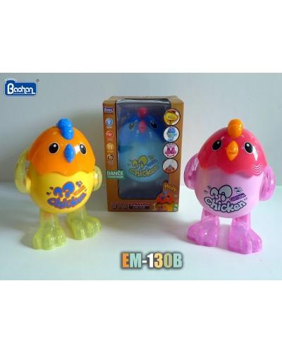 Муз. Животное EM-130B Цыпленок, 3 цвета, свет, звук, в коробке 14*13*21см