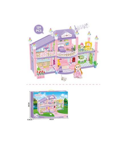 Домик 326-D2 свет, звук, 2 этажа, куколка, мебель, аксес., в кор. 48*7*36см