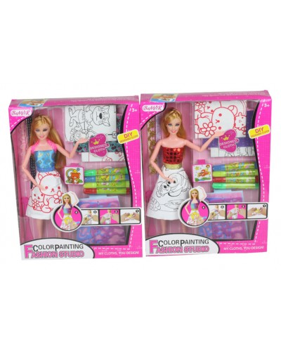 "Кукла ""Модельер"" 903  2 вида, платье-раскраска, фломастеры, трафареты, в кор. 25*5.5*33"