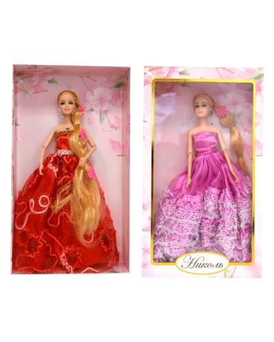 """Кукла """"Николь"""" 1702 4 вида, шарнир, в бальном платье, светятся волосы, в кор."""