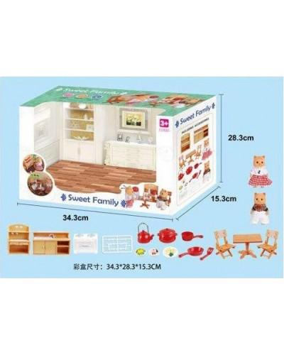 Животные флоксовые 1603F Кухня мебель + посуда, фигурки животных в комплекте, в коробке 34*28*15см.