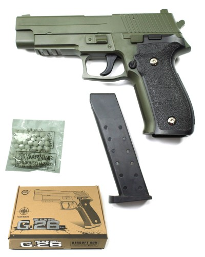 Пистолет метал. пластик G.26G зеленый, пружинный, с пульками в коробке 20*15*3,5см