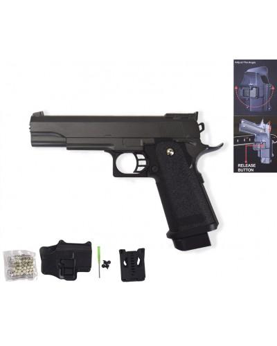 Пистолет метал.пластик G.6+ с пульками, кобурой в коробке 22*16*5см