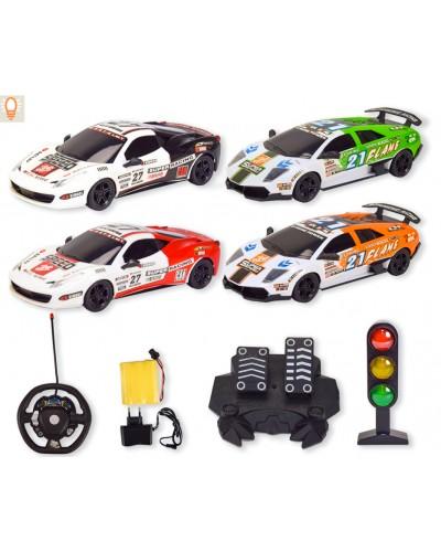 Машина аккум р/у RD520A-1/2 4 вида, руль, педали машины, светофор, пульт на батар., в кор.50*10*32см