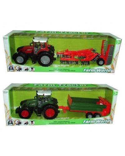 Трактор инерц. 8033-10/11 с прицепом, 2 вида в коробке 80см