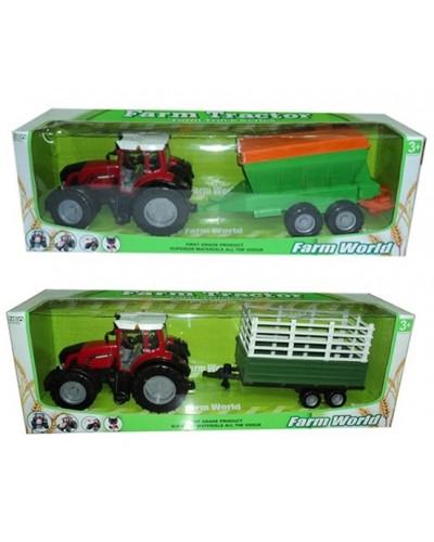 Трактор инерц. 8033-5/7 с прицепом, 2 вида в коробке 80см