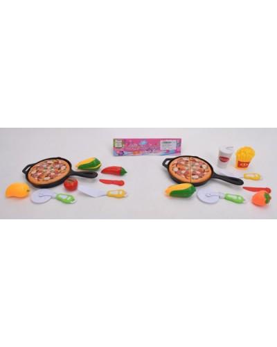 Набор продуктов 621410  2 вида, сковородка, пицца. продукты на липучках, в пакете 23*13,8*2 см
