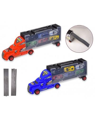Трейлер AG102 (1755724) 2 цвета, в комплекте 6 машинок, в кор. 40*8*13,5см