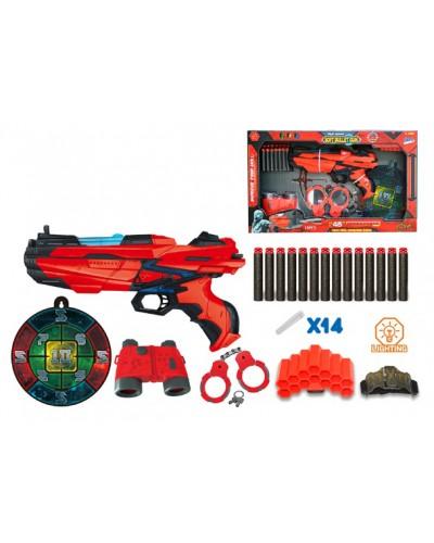 Бластер FJ011 бинокль, наручники, поролон. снаряды, мишень, в кор.52*7*31см