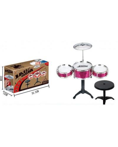 Барабанная установка 996-2 сборная - три барабана, тарелка, ударные палочки, стульчик.