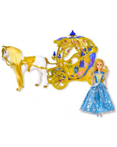 Карета 247A звук, лошадка ходит, с куклой, в коробке 59*33*17 см