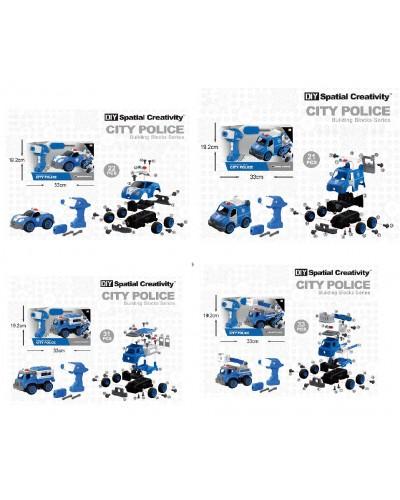 Конструктор с инструм. LM8021/22/23/24-YZ-1  21-33дет., 4 вида, Полиция, в кор. 33*13,5*19,2
