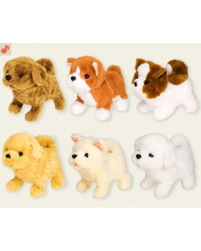 Мягкая игрушка L0552 музыкальная собачка, ходит, лает, 6 видов в коробке 13*18,5*18,5 см
