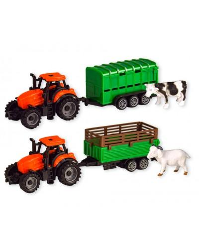 Трактор инерц. 7939AB  2 вида с животным, в коробке 22,5*6*8,5см