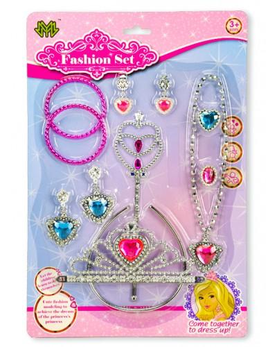 Аксессуары для девочек 8323-10D (1885263) корона, серьги, бусы, браслеты, акесеc., на планшетке