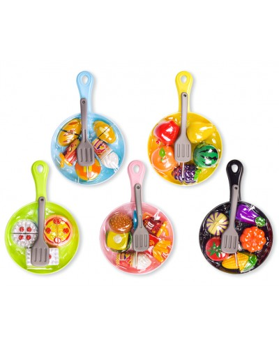 Набор продуктов 6056 (1885123) 5 видов, овощи на липучках, сковородка - 28*18*3 см, нож, лопатка