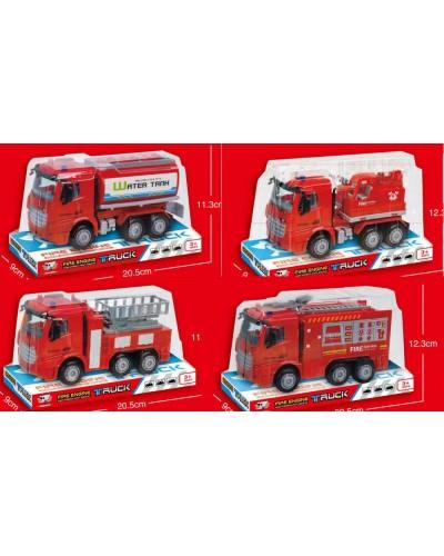 Пожарная машина инерц. 999A-1/2/3/5  4 вида, слюда 20,5*11,3*9см