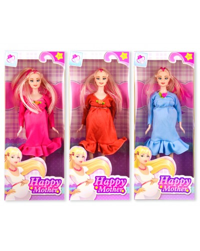 Кукла типа Барби 2030-80A (1892429) беременная, 3 цвета, в коробке 13*6*32 см