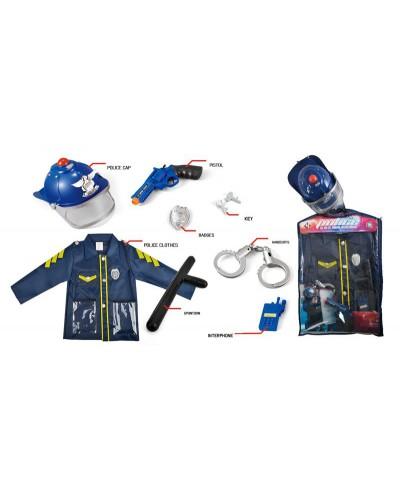 Набор полицейского P012A костюм, каска, жезл, наручники, телефон, пистолет, в пакете 64*42*10см