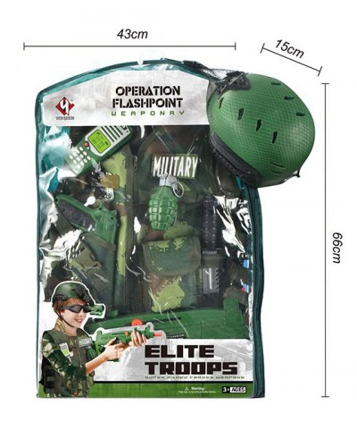 Набор военного M012A костюм, каска, пистолет, граната, штык-нож и др, в пакете 64*42*10см