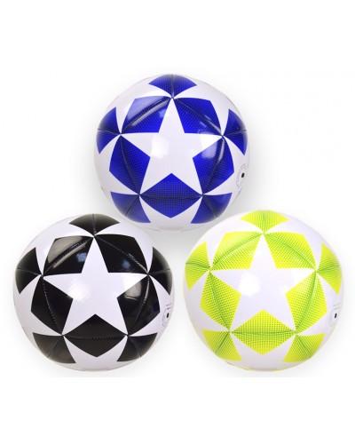 Мяч футбол YW0258 320 грамм, 3 цвета, PVC, сетка, иголка