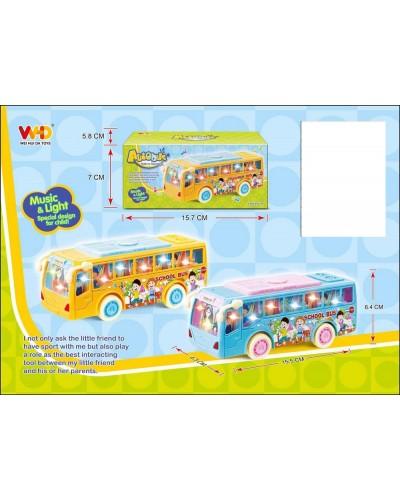 Муз.автобус WH-3050 Школьный автоб., батар, свет, звук, в коробке 16*6*7см