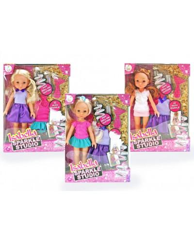 """Кукла """"Isabella""""Модельер"""" BR105 3 вида, одежда, наклейки, блестки в наборе, в кор. 27*6*20 cм"""