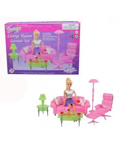 Мебель 2503 для гостинной, диван, жур. столик, торшер, кресло, тумбочки, в кор.24*17*6см
