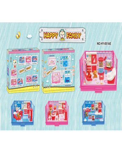 Игровой набор HY-051AE/052AE/055AE/056AE 4 вида, 2 медведя, мебель, домик, в коробке 23,5*18*7 см