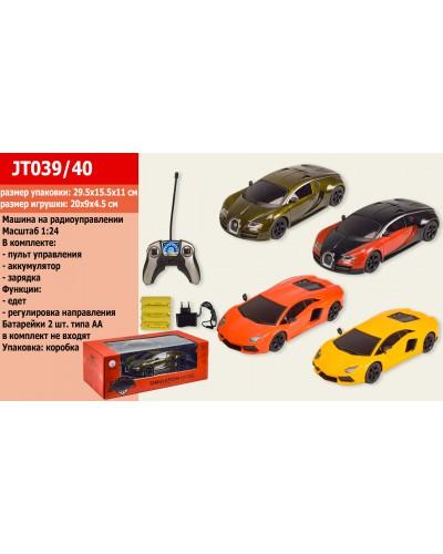 Машина металл аккум.батар., р/у JT039/40 2 вида по 2 цвета, пульт на батар., в кор. 29,5*15